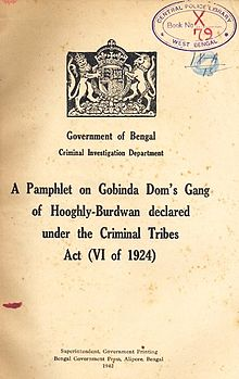 A_Pamphlet_on_Gobinda_Doms_Gang,_under_the_Criminal_Tribes_Act_(VI_of_1924),_dated_1942