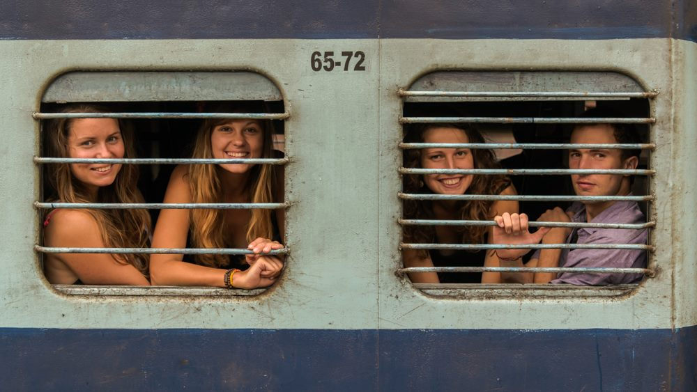 A european woman travel in India