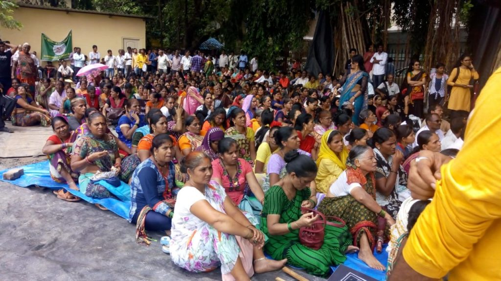 Ghar bachao Ghar banao andolan, Mumbai organized a rally and dharna of residnents of Mahul and Tansa Pipeline Project Affected Persons to demand better rehabilitation.